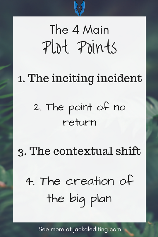 The 4 Main Plot Points | The plot points that your story needs. Head over to jackalediting.com for the full article, and more great writing tips from a freelance book editor!