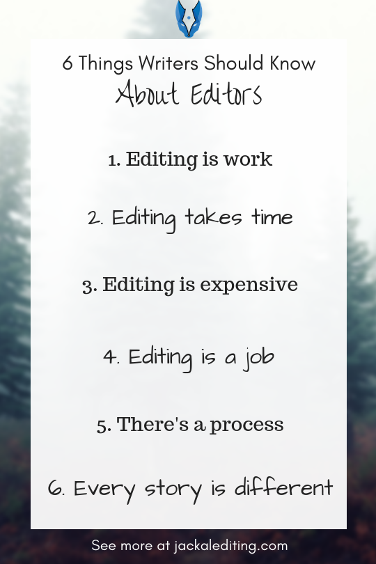 6 Things Writers Should Know About Editors and the Editing Process | Are you looking for a freelance editor to edit your novel? Make sure you know these 6 things. Head over to jackalediting.com for the full article, and more great writing tips from a freelance book editor!