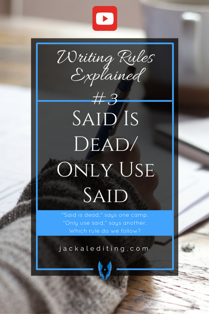 Writing Rules Explained: Said is Dead/ Only Use Said   Tips from a freelance book editor about whether or not said is dead. A must watch for writers who aren't sure how to tag their dialogue.